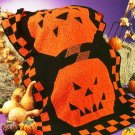 W523 Crochet PATTERN ONLY Granny Style Jack O Lantern Afghan Pattern Halloween
