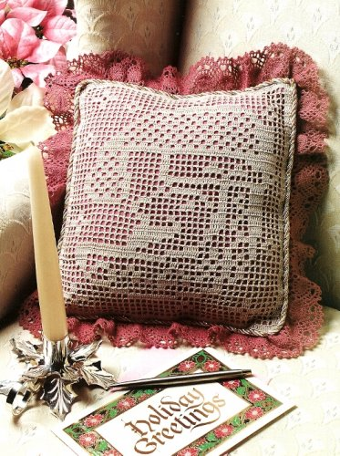 W525 Filet Crochet PATTERN ONLY Santa Claus Moon Pillow Christmas Pattern