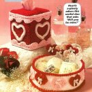W478 Crochet PATTERN ONLY Valentine Heart Tissue Box Cover & Basket Pattern