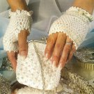 W484 Crochet PATTERN ONLY Bridal Pearly Purse & Fingerless Gloves Pattern
