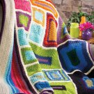 W495 Crochet PATTERN ONLY Modern Color Block Painter's Blanket Afghan Pattern