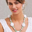 W498 Crochet PATTERN ONLY Summer Zinnia Floral Necklace and Earrings Patterns