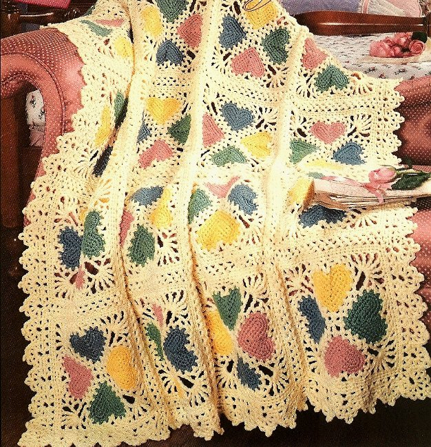 W503 Crochet PATTERN ONLY Charming Lacy Heart Valentine Afghan Pattern
