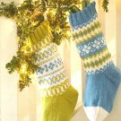 W505 Knit PATTERN ONLY 2 Frosty Fair Isle Christmas Stockings Patterns