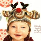 W513 Crochet PATTERN ONLY Rudolph Reindeer Baby Hat Pattern