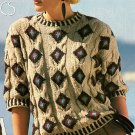 W521 Knit PATTERN ONLY Ladies Aztec Cabled Short Sleeve Sweater Top Pattern