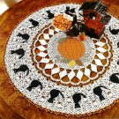 W529 Crochet PATTERN ONLY Halloween Table Topper Doily Cat & Pumpkin Pattern