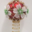 W538 Bead PATTERN ONLY Beaded Christmas Rose Ornament Cover Pattern