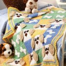 W563 Crochet PATTERN ONLY Cute Puppy Dogs & Bones Afghan Pattern