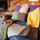 W580 Crochet PATTERN ONLY Firelight Lap Robe & Pillow Afghan Pattern