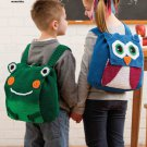 W599 Crochet PATTERN ONLY Owl and Frog Animal Backpacks Patterns