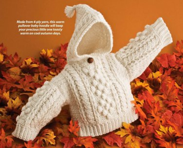 W603 Crochet PATTERN ONLY Infants Aran Hoodie & Filet Give Thanks Table Set