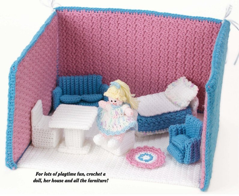 W609 Crochet Pattern Only Fold Up Doll House Furniture