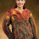 W616 Crochet PATTERN ONLY Falling Leaves Jacket Pattern Thanksgiving Fall Autumn