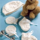 W618 Crochet PATTERN ONLY Newborn Baby Gift Set Booties Mitts Hat Patterns