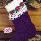 W625 Crochet PATTERN ONLY Royal Poinsettia Cro-Tat Christmas Stocking Pattern
