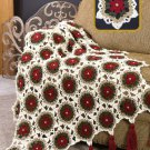W628 Crochet PATTERN ONLY Christmas Holiday Glitter Afghan Throw Pattern