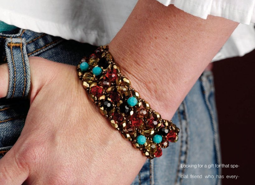 W632 Bead PATTERN ONLY Beaded Crazy Crystal Cuff Bracelet Pattern