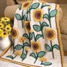 W636 Crochet PATTERN ONLY Sunflowers Lap Afghan Pattern