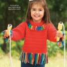 W661 Crochet PATTERN ONLY Fringe Benefit Kid's Pullover Sweater Pattern