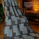 W677 Crochet PATTERN ONLY Men's Nine-Patch Quilt look Afghan Pattern