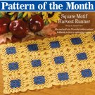 W679 Crochet PATTERN ONLY Square Motife Fall Harvest Table Runner Pattern