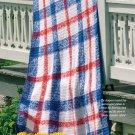 W684 Crochet PATTERN ONLY Liberty Tartan Afghan Throw Pattern Patriotic Colors