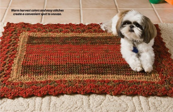 W711 Crochet PATTERN ONLY Fall Harvest Dog or Cat Pet Mat Pattern