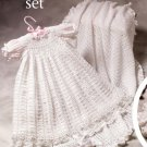 W715 Crochet PATTERN ONLY Christening Set Gown Blanket Booties Hat Socks Pattern