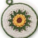 W716 Crochet PATTERN ONLY 2 Floral Pot Holder Potholder Patterns Sunflower & Blue