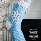 W722 Crochet PATTERN ONLY Blue Christmas Snowflake Stocking Pattern