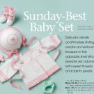 W731 Crochet PATTERN ONLY Sunday Best Baby Set Sweater Hat Booties Patterns