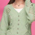 W734 Crochet PATTERN ONLY Ladies Spring Green Cardigan Sweater Pattern