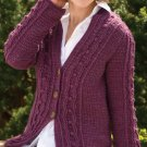W754 Crochet PATTERN ONLY Ladies Cabled Elegance Cardigan Sweater Pattern