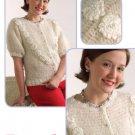 W780 Crochet PATTERN ONLY Pearl Blossom Short Sleeve Cardigan Sweater Pattern