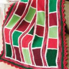 W816 Crochet PATTERN ONLY Vibrant Blocks Bar-Quilt Christmas Afghan Pattern