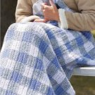 W862 Crochet PATTERN ONLY Plaid Stadium Blanket Gingham Check Afghan Pattern