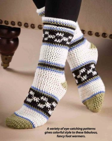 W865 Crochet PATTERN ONLY Checks and Stripes Socks Pattern