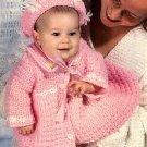 Z068 Crochet PATTERN ONLY Baby's Daisy Trimmed Hat & Jacket Ensemble Pattern