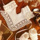 Z078 Crochet PATTERN ONLY Keepsake Heirloom Bib & Baby Booties Pattern