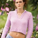 Z088 Crochet PATTERN ONLY Pink Champagne Cropped Pullover Pattern