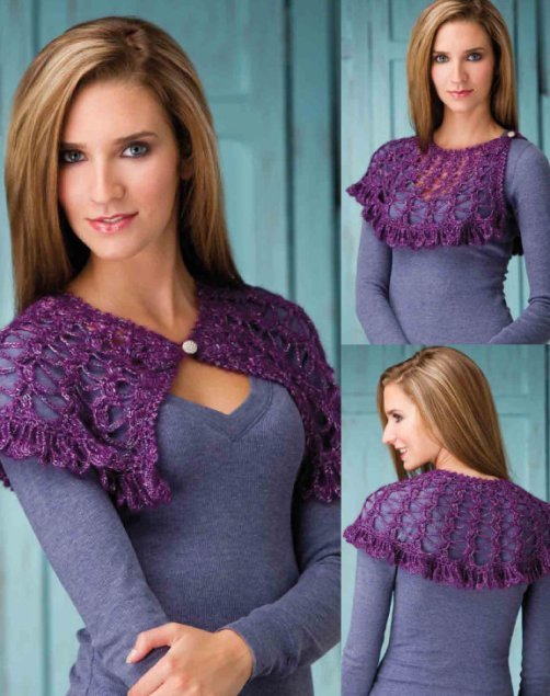 Z284 Crochet PATTERN ONLY Purple Haze Lacy Shoulder Scarf Pattern