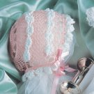 Z298 Crochet PATTERN ONLY Roll Stitch Baby Bonnet Pattern