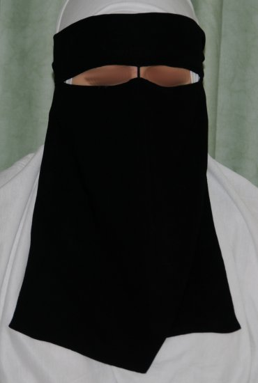 One-piece Saudi niqab with nose-string