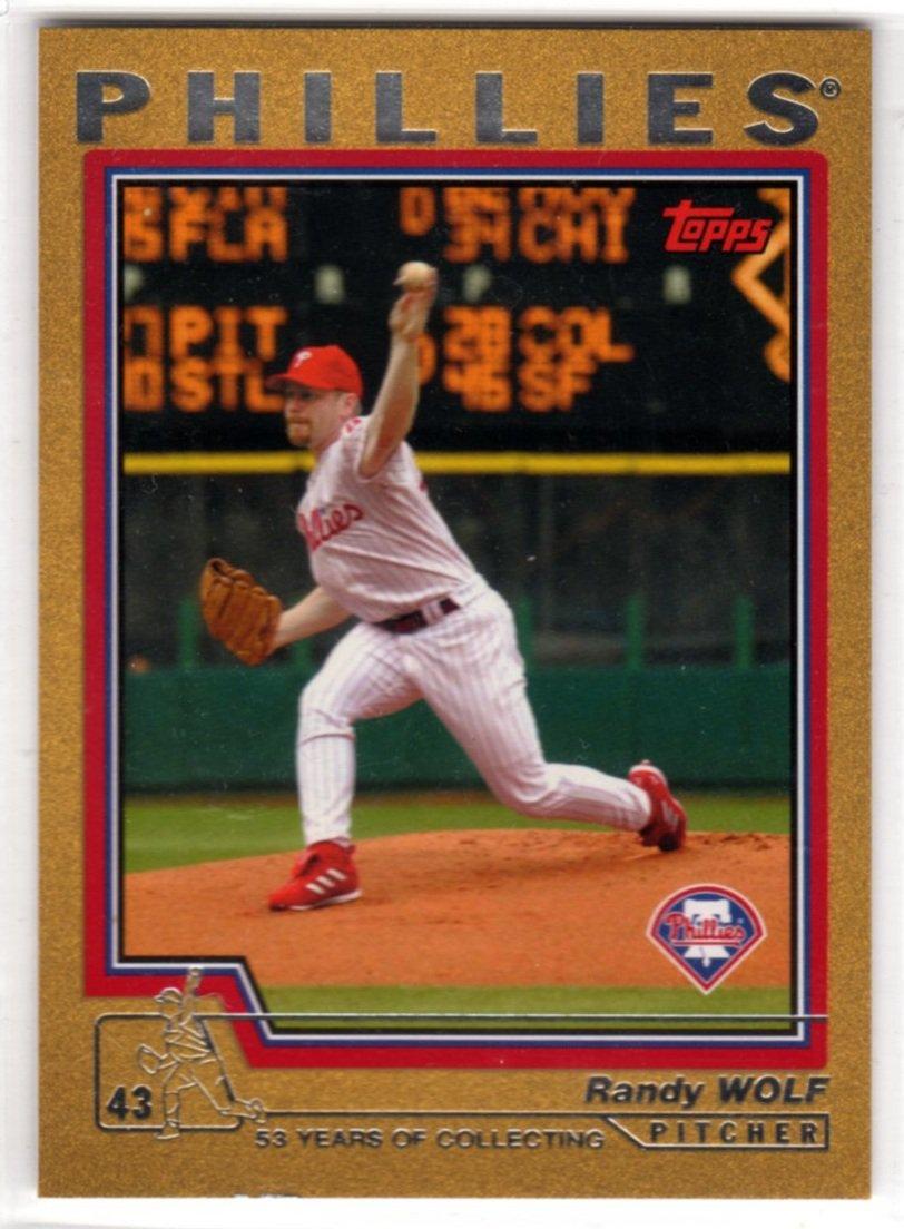 2004 Gold Baseball Card #222 (Topps) - Randy Wolf, Phillies, 1035/2004 - Trading Card