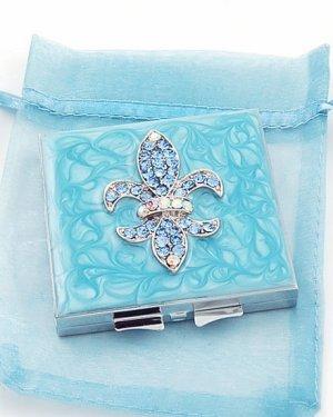 Blue fleur de lis makeup compact mirrors swarovski w crystals christmas gift item