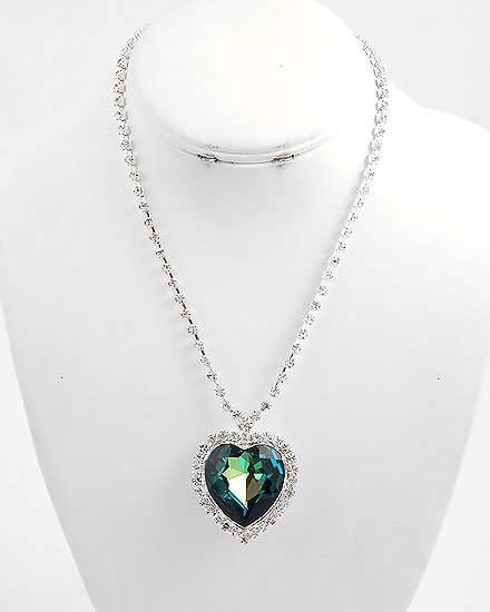 Blue TITANIC Sapphire SWAROVSKI CRYSTAL Heart of the  Ocean NECKLACE