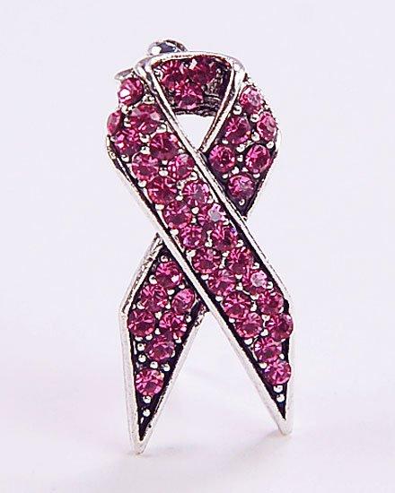 PINK RIBBON BROOCH PIN BREAST CANCER AWARENESS made with swarovski crystals