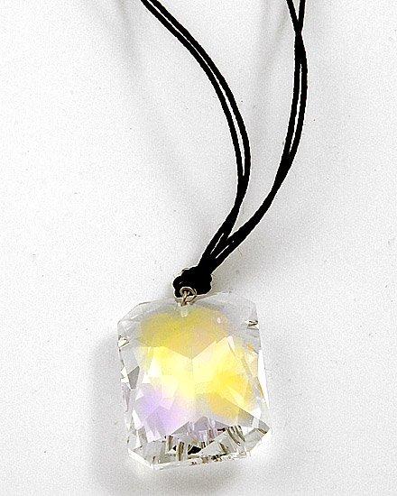 Large Emerald Ab Swarovski Crystal / Lead&nickel Compliant / Multi Row Black Cord / Pendant Necklace