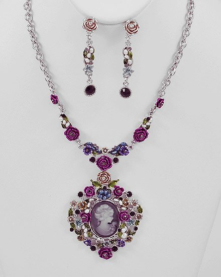 Silvertone / Multi Colored Epoxy crystal Flower Theme  Cameo Pendant Necklace & Post Earring Set
